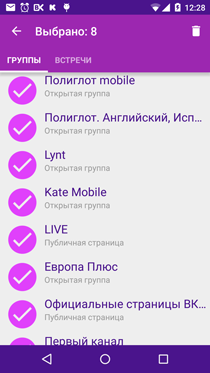 Полиглот ВКонтакте. Все группы выделены