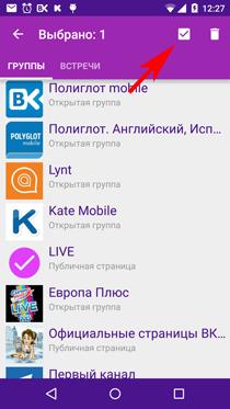 Полиглот ВКонтакте. Выделить все групы